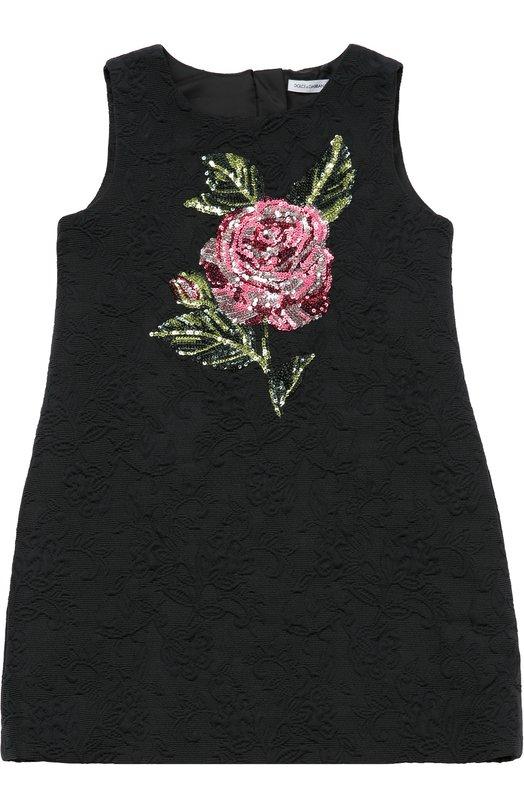 Платье с вышивкой пайетками и фактурной отделкой Dolce & Gabbana 0131/L53D09/FJMYT/2-6