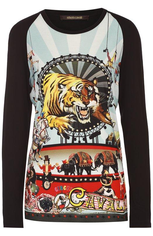 Пуловер с круглым вырезом и контрастным принтом Roberto Cavalli DQT612/NHX93