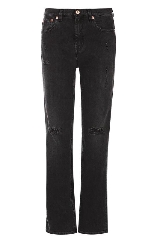 Купить Укороченные джинсы прямого кроя с потертостями Roberto Cavalli, DQJ208/DS012, Италия, Черный, Хлопок: 98%; Эластан: 2%;