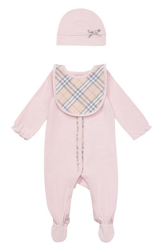 Пижама в комплекте с нагрудником и шапкой Burberry 3999457