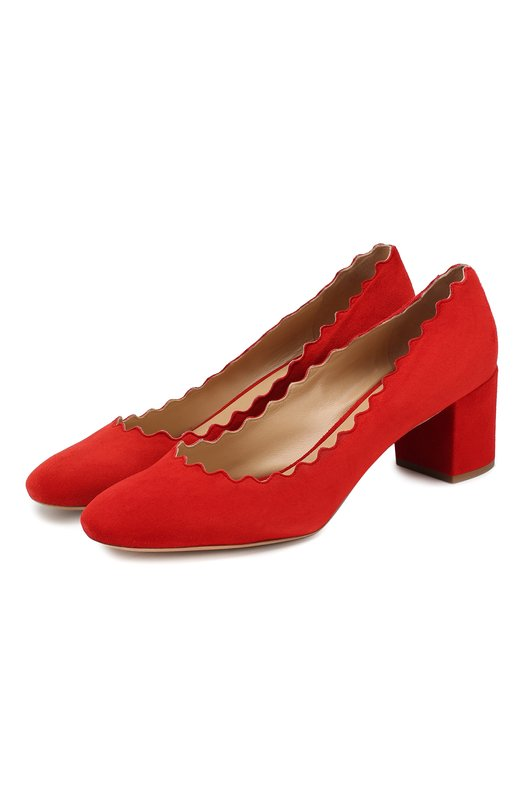 Купить Замшевые туфли Lauren с фигурным вырезом Chloé, CH26230/E01, Италия, Красный, Стелька-кожа: 100%; Подошва-кожа: 100%; Замша натуральная: 100%;