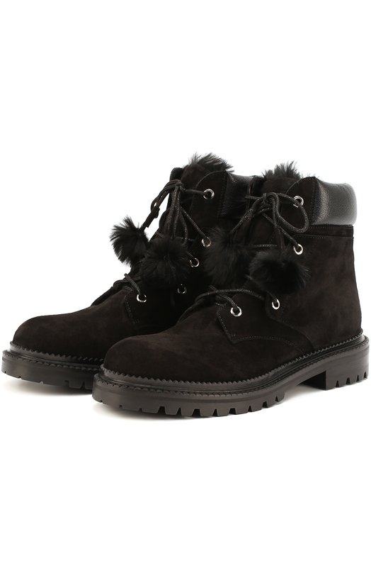 Замшевые ботинки Elba с помпонами Jimmy Choo ELBA FLAT/DF0