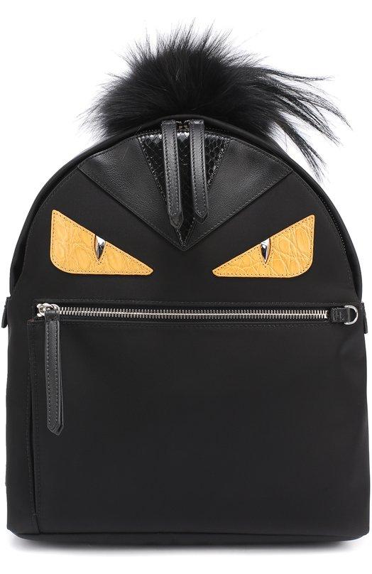Купить Рюкзак Bag Bugs с отделкой из меха и комбинированной кожи Fendi, 8BZ035/88Z, Италия, Черный, Текстиль: 86%; Резина: 14%; Отделка кожа натуральная: 100%; Отделка мех./песец/: 100%;