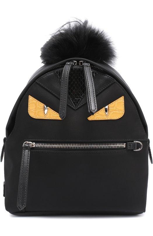 Рюкзак Bag Bugs Mini с отделкой из меха и комбинированной кожи Fendi 8BZ038/88Z