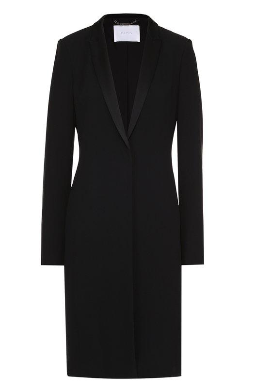 Приталенное пальто с декорированными лацканами HUGO 50325221