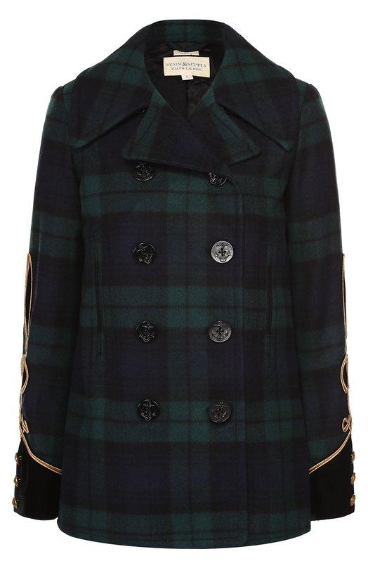 Укороченное двубортное пальто в клетку с контрастной отделкой Denim&Supply by Ralph Lauren 288637814