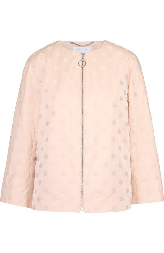 Куртка свободного кроя на молнии с круглым вырезом Escada SportКуртки<br><br><br>Российский размер RU: 54<br>Пол: Женский<br>Возраст: Взрослый<br>Размер производителя vendor: 46<br>Материал: Полиэстер: 100%; Подкладка-купра: 100%;<br>Цвет: Светло-розовый