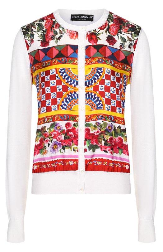 Шелковый кардиган с вязаными рукавами и ярким принтом Dolce &amp; GabbanaКардиганы<br><br><br>Российский размер RU: 46<br>Пол: Женский<br>Возраст: Взрослый<br>Размер производителя vendor: 44<br>Материал: Шелк: 100%;<br>Цвет: Белый