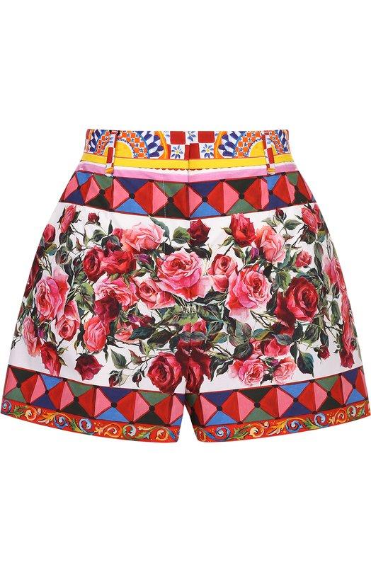 Хлопковые мини-шорты с ярким принтом Dolce & Gabbana 0102/FTAMYT/GDD03
