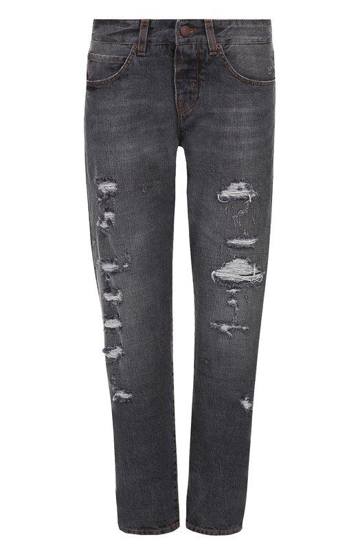 Укороченные джинсы прямого кроя с потертостями Two Women In The World MANU/LCLSQ