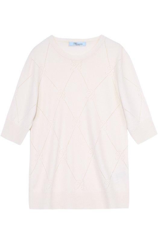 Кашемировый пуловер с укороченным рукавом и перфорацией BlumarineСвитеры<br><br><br>Российский размер RU: 40<br>Пол: Женский<br>Возраст: Взрослый<br>Размер производителя vendor: 38<br>Материал: Кашемир: 100%;<br>Цвет: Белый