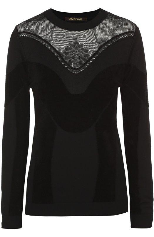Пуловер прямого кроя с полупрозрачной вставкой Roberto Cavalli DKM500/MI001
