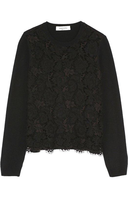 Укороченный пуловер с кружевной отделкой Valentino LB3KC16Y/2SU