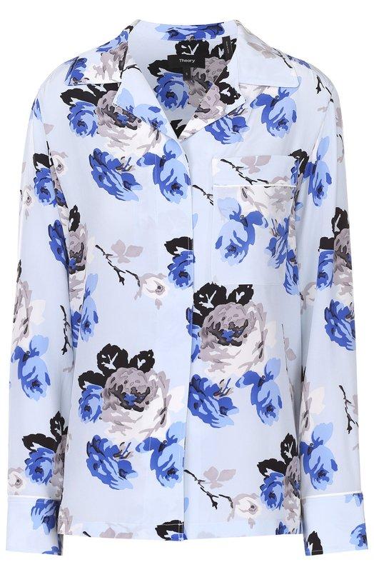 Шелковая блуза в пижамном стиле с цветочным принтом TheoryБлузы<br><br><br>Российский размер RU: 42<br>Пол: Женский<br>Возраст: Взрослый<br>Размер производителя vendor: P<br>Материал: Шелк: 100%;<br>Цвет: Разноцветный