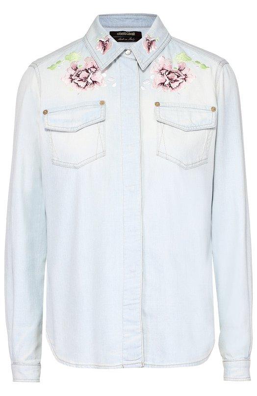 Джинсовая блуза прямого кроя с цветочной вышивкой Roberto Cavalli DKJ715/DS002