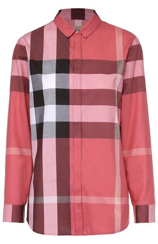 Хлопковая блуза прямого кроя в клетку BurberryБлузы<br><br><br>Российский размер RU: 48<br>Пол: Женский<br>Возраст: Взрослый<br>Размер производителя vendor: L<br>Материал: Хлопок: 100%;<br>Цвет: Бордовый