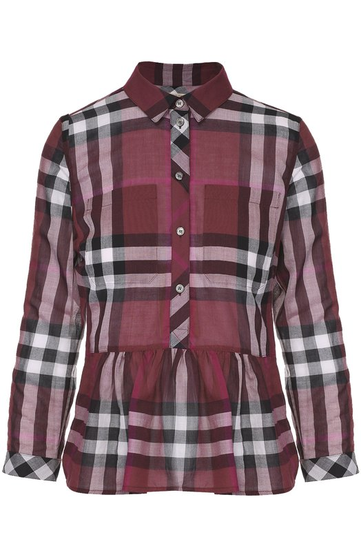 Блуза в клетку с баской и накладными карманами BurberryБлузы<br><br><br>Российский размер RU: 46<br>Пол: Женский<br>Возраст: Взрослый<br>Размер производителя vendor: M<br>Материал: Хлопок: 100%;<br>Цвет: Фиолетовый