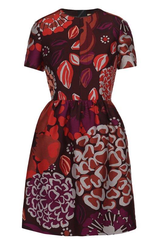 Приталенное мини-платье с контрастным цветочным принтом Burberry 4030979