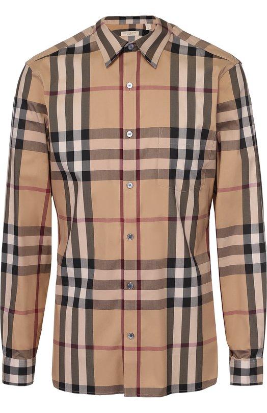Хлопковая рубашка с воротником кент Burberry 4557598