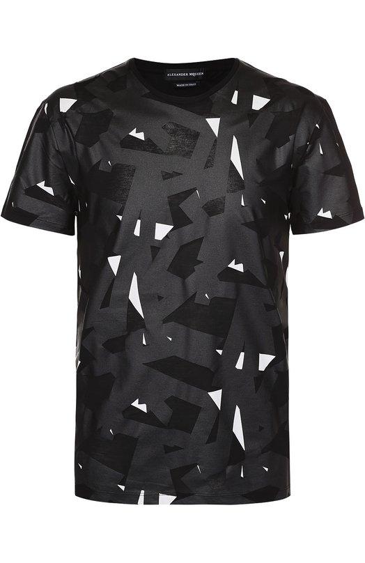 Хлопковая футболка с контрастным принтом Alexander McQueen 427976/QHZ04