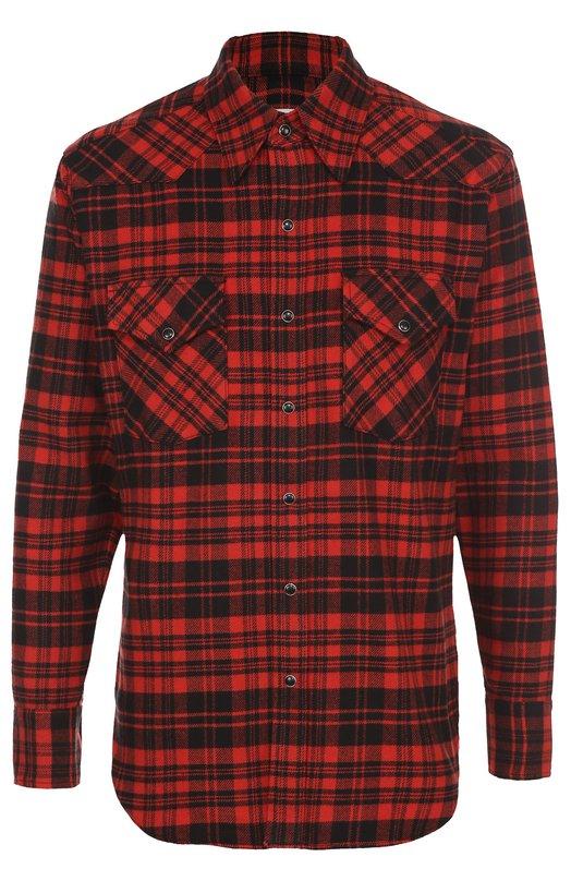 Хлопковая рубашка в клетку на кнопках Saint Laurent 442379/Y967M