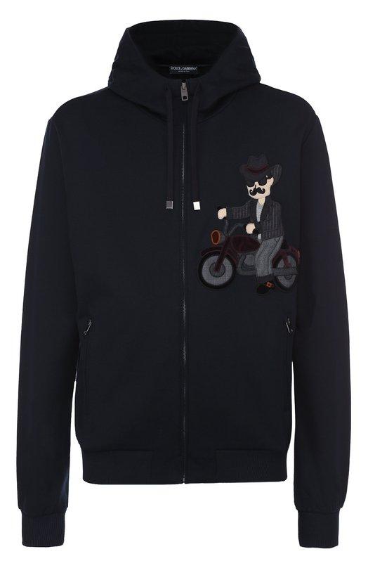 Хлопковая толстовка на молнии с аппликацией Dolce & Gabbana 0101/G9GU9Z/G7IIE