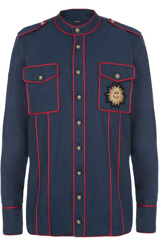 Хлопковая рубашка с контрастным кантом и нашивкой Balmain T179/C320B