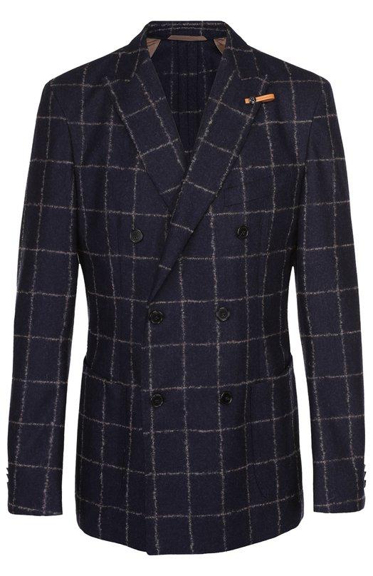 Шерстяной двубортный пиджак BaldessariniПиджаки<br>Приталенный двубортный пиджак с широкими лацканами сшит из фактурной темно-синей шерсти в крупную светлую клетку. Модель из осенне-зимней коллекции 2016 года дополнена тремя карманами. Рекомендуем носить с бордовой водолазкой, коричневыми брюками и черными полусапогами.<br><br>Российский размер RU: 56<br>Пол: Мужской<br>Возраст: Взрослый<br>Размер производителя vendor: 54<br>Материал: Шерсть: 100%;<br>Цвет: Темно-синий