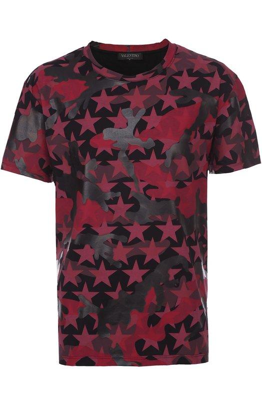 Хлопковая футболка с принтом Camustars Valentino LV0MG06Q/3T7
