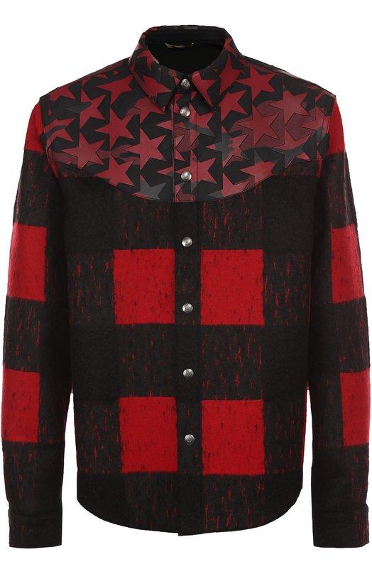 Шерстяная куртка с отделкой из натуральной кожи с принтом Camustars Valentino LV0CI160/3UQ