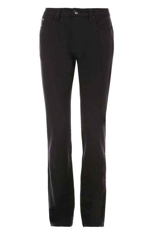 Шерстяные брюки прямого кроя Armani CollezioniБрюки<br><br><br>Российский размер RU: 56<br>Пол: Мужской<br>Возраст: Взрослый<br>Размер производителя vendor: 40-R<br>Материал: Шерсть: 95%; Эластан: 5%;<br>Цвет: Черный