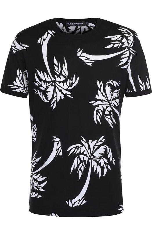 Хлопковая футболка с принтом Dolce &amp; GabbanaФутболки<br><br><br>Российский размер RU: 50<br>Пол: Мужской<br>Возраст: Взрослый<br>Размер производителя vendor: 48<br>Материал: Хлопок: 100%;<br>Цвет: Черный