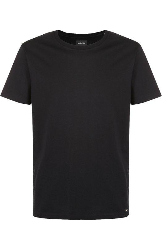Хлопковая футболка с круглым вырезом DieselФутболки<br><br><br>Российский размер RU: 56<br>Пол: Мужской<br>Возраст: Взрослый<br>Размер производителя vendor: XXXL<br>Материал: Хлопок: 100%;<br>Цвет: Черный