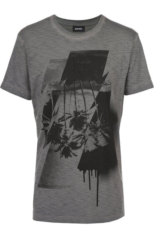 Хлопковая футболка с принтом DieselФутболки<br><br><br>Российский размер RU: 54<br>Пол: Мужской<br>Возраст: Взрослый<br>Размер производителя vendor: XXL<br>Материал: Хлопок: 100%;<br>Цвет: Серый