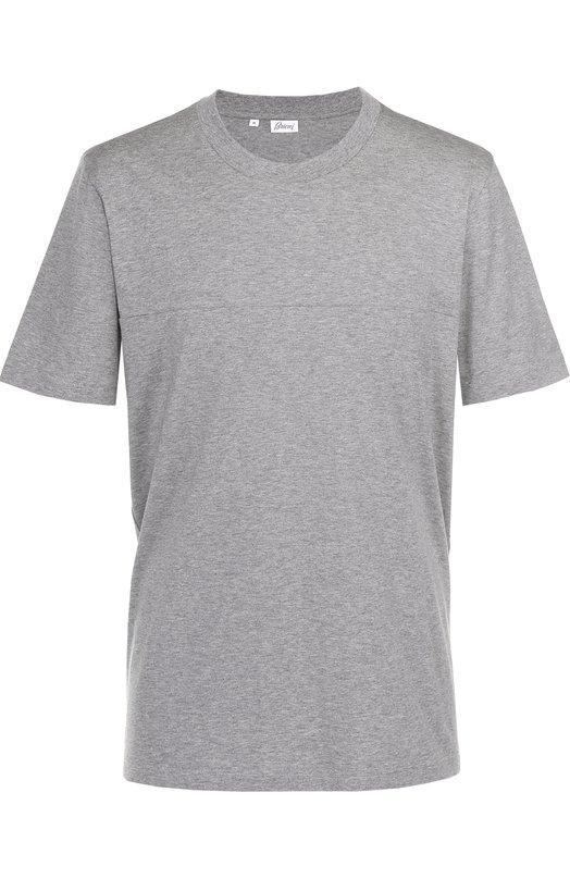 Хлопковая футболка с круглым вырезом Brioni UJ5Q/P4621