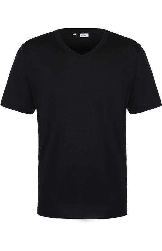 Хлопковая футболка с V-образным вырезом Brioni UJ5X/PZ600
