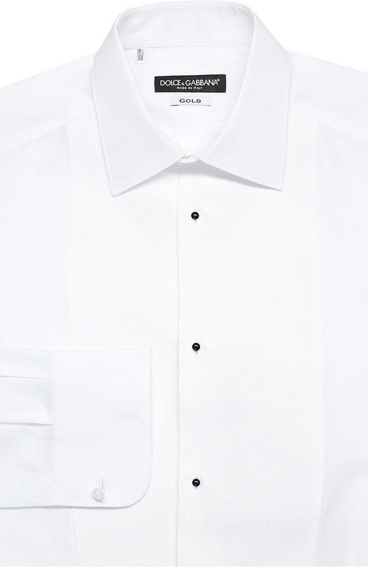 Хлопковая сорочка под смокинг Dolce &amp; GabbanaРубашки<br><br><br>Российский размер RU: 45<br>Пол: Мужской<br>Возраст: Взрослый<br>Размер производителя vendor: 45<br>Материал: Хлопок: 100%;<br>Цвет: Белый