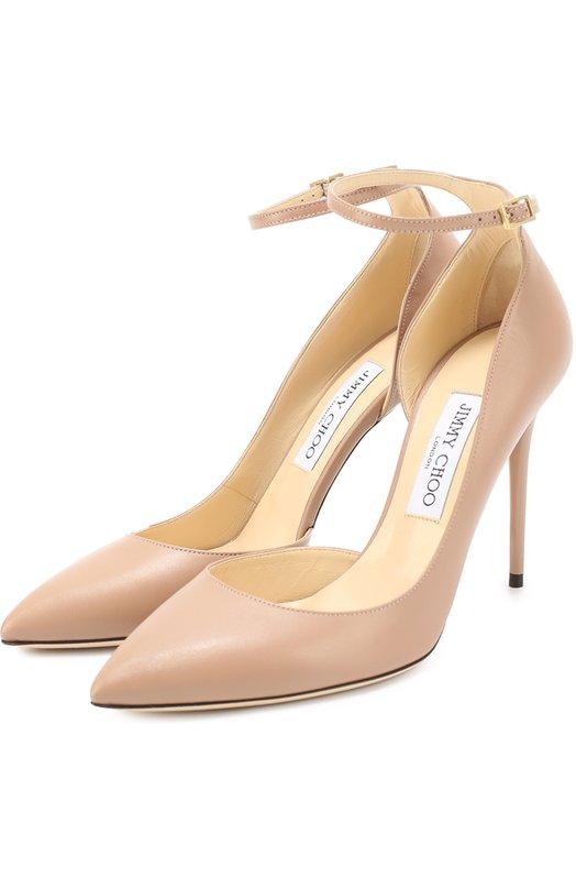 Кожаные туфли Lucy 100 с ремешком на щиколотке Jimmy ChooТуфли<br>В коллекцию сезона весна-лето 2017 года вошли туфли Lucy на высокой шпильке, с зауженным мысом и фигурным вырезом. Мастера марки, основанной Джимми Чу, выполнили обувь из матовой бежевой кожи. Модель, подобранная в тон коже, зрительно удлинит ноги. Высокий задник дополнен тонким ремешком.<br><br>Российский размер RU: 38<br>Пол: Женский<br>Возраст: Взрослый<br>Размер производителя vendor: 38<br>Материал: Кожа натуральная: 100%; Стелька-кожа: 100%; Подошва-кожа: 100%;<br>Цвет: Бежевый