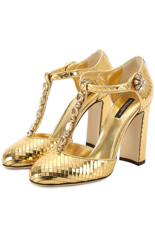 Туфли Vally из фактурной кожи с кристаллами Dolce & Gabbana 0112/CD0639/AE702