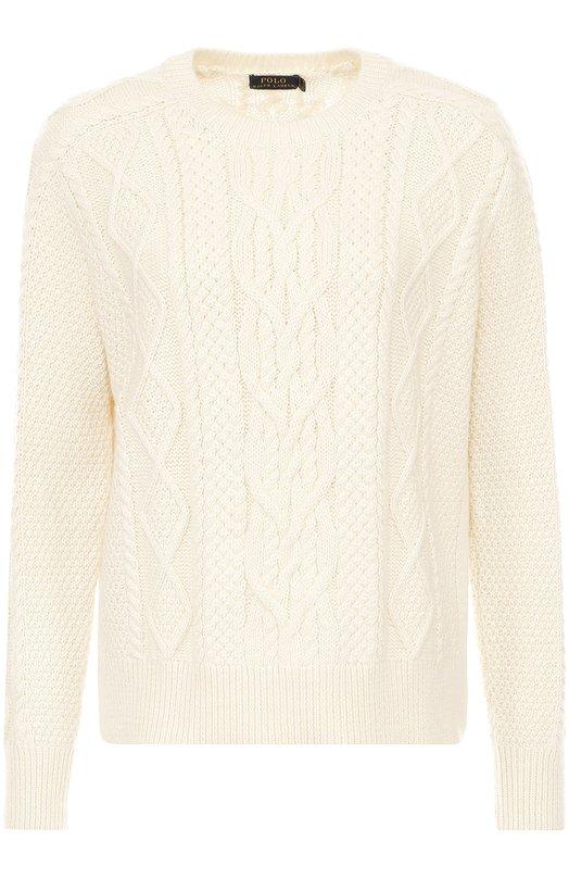 Пуловер фактурной вязки с круглым вырезом Polo Ralph LaurenСвитеры<br><br><br>Российский размер RU: 50<br>Пол: Женский<br>Возраст: Взрослый<br>Размер производителя vendor: XL<br>Материал: Хлопок: 78%; Акрил: 22%;<br>Цвет: Кремовый