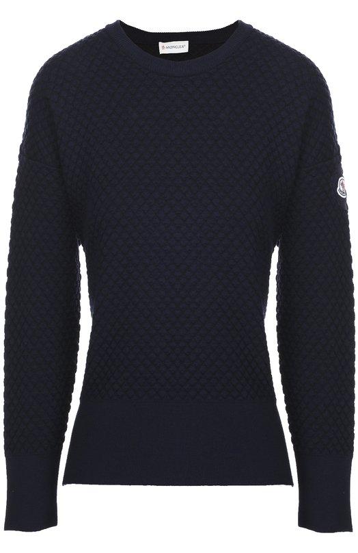 Пуловер с фактурной отделкой и разрезами Moncler B2-093-90606-00-99652