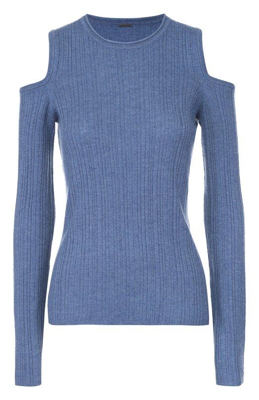 Пуловер фактурной вязки с открытыми плечами Elie TahariСвитеры<br><br><br>Российский размер RU: 46<br>Пол: Женский<br>Возраст: Взрослый<br>Размер производителя vendor: M<br>Материал: Шерсть: 80%; Кашемир: 20%;<br>Цвет: Голубой