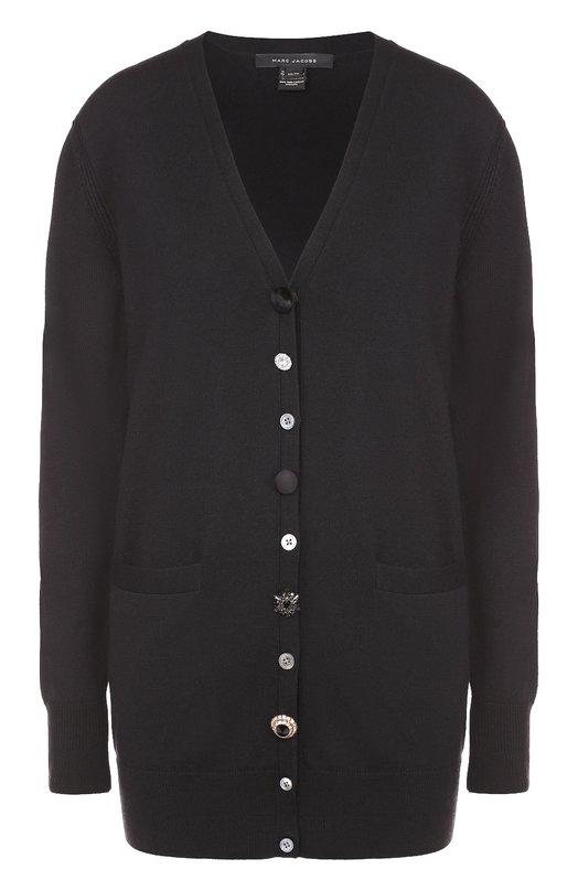 Удлиненный кардиган с карманами и V-образным вырезом Marc JacobsКардиганы<br><br><br>Российский размер RU: 42<br>Пол: Женский<br>Возраст: Взрослый<br>Размер производителя vendor: XS<br>Материал: Шерсть: 100%;<br>Цвет: Черный