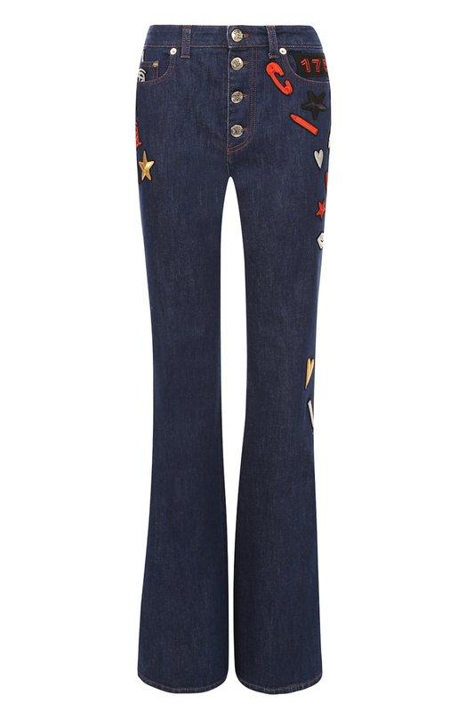 Расклешенные джинсы с завышенной талией и яркими нашивками Sonia Rykiel 16H 16103325-CB