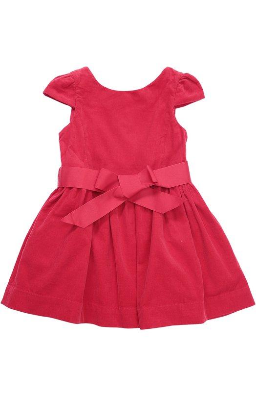 Платье из вельвета с пышной юбкой и поясом Polo Ralph Lauren S23/XZ1GH/XY1GH