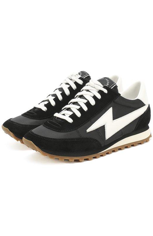 Купить Комбинированные кроссовки с контрастной шнуровкой Marc Jacobs, M9000840, Китай, Черный, Подошва-резина: 100%; Отделка кожа натуральная: 100%; Замша натуральная: 100%; Текстиль: 100%; Стелька-текстиль: 100%;