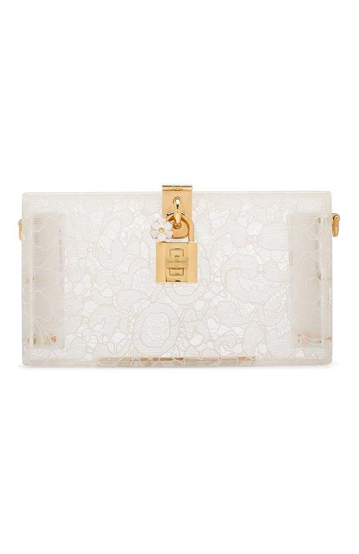 Купить Клатч Dolce Box с кружевом Dolce & Gabbana, 0116/BB6232/AD762, Италия, Белый, Плексиглас: 90%; Вискоза: 5%; Хлопок: 4%; Полиамид: 1%;