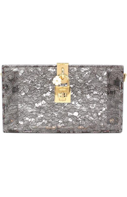 Клатч Dolce Box с кружевом Dolce &amp; GabbanaКлатчи и вечерние сумки<br><br><br>Пол: Женский<br>Возраст: Взрослый<br>Размер производителя vendor: NS<br>Материал: Поливинилхлорид: 100%;<br>Цвет: Серый
