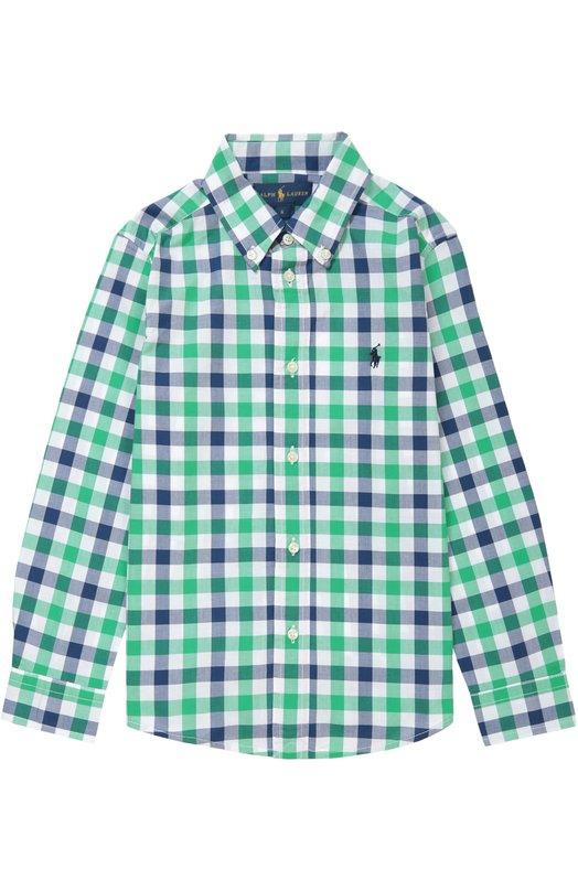 Хлопковая рубашка с воротником button down Polo Ralph Lauren K04/XZ1QH/XY1QH