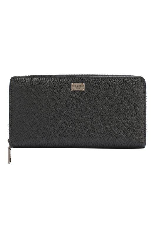 Купить Кожаное портмоне на молнии Dolce & Gabbana, 0115/BP1672/A1001, Италия, Серый, Кожа натуральная: 100%;